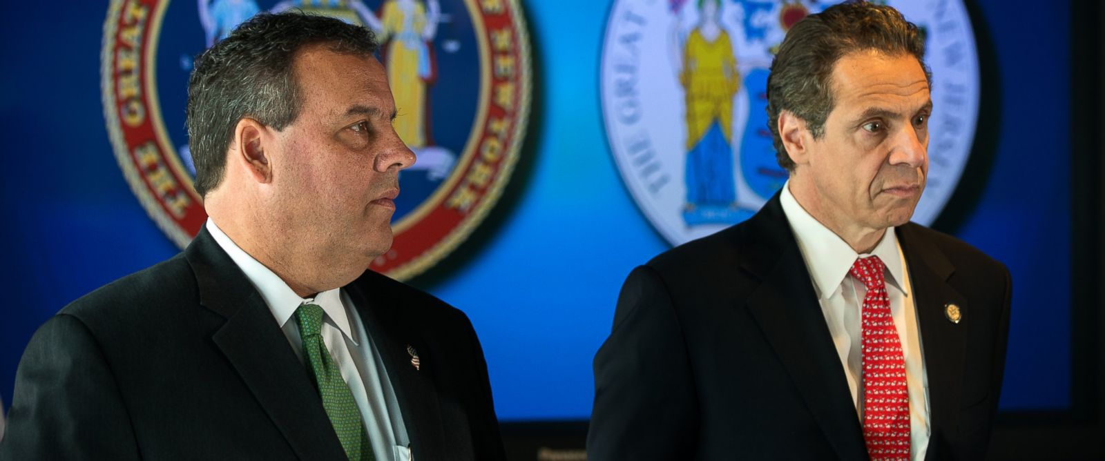 PHOTO: N.J. Gov. Chris Christie, left, and N.Y. Gov. Andrew Cuomo, right, are pictured on Sept. 24, 2014 in New York City.