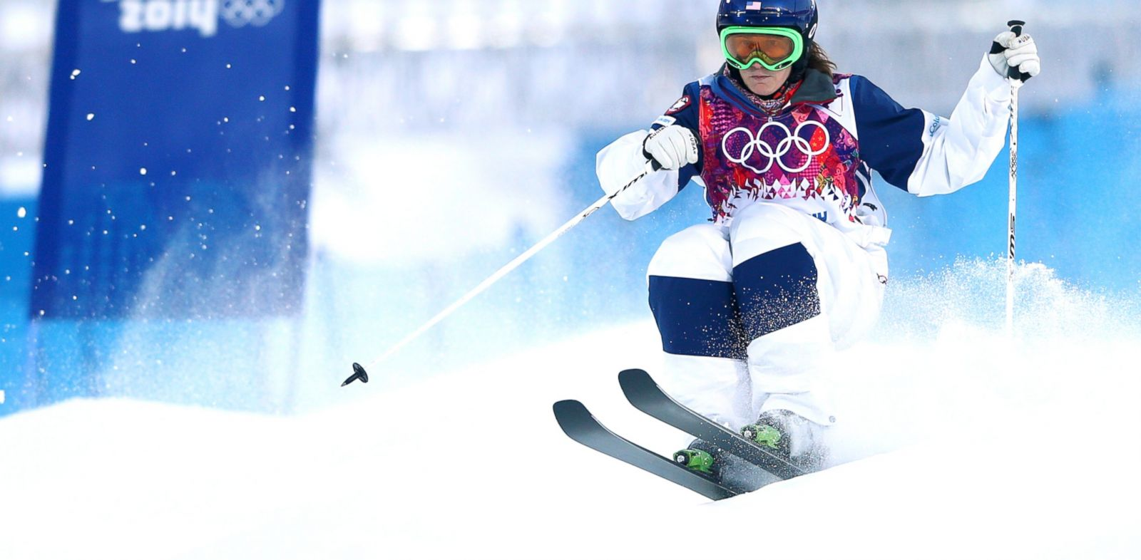 PHOTO: Heather McPhie of the United States competes in the ladies moguls qualification during the Sochi 2014 Winter Olympics at Rosa Khutor Extreme Park in Sochi, Russia, Feb. 6, 2014.