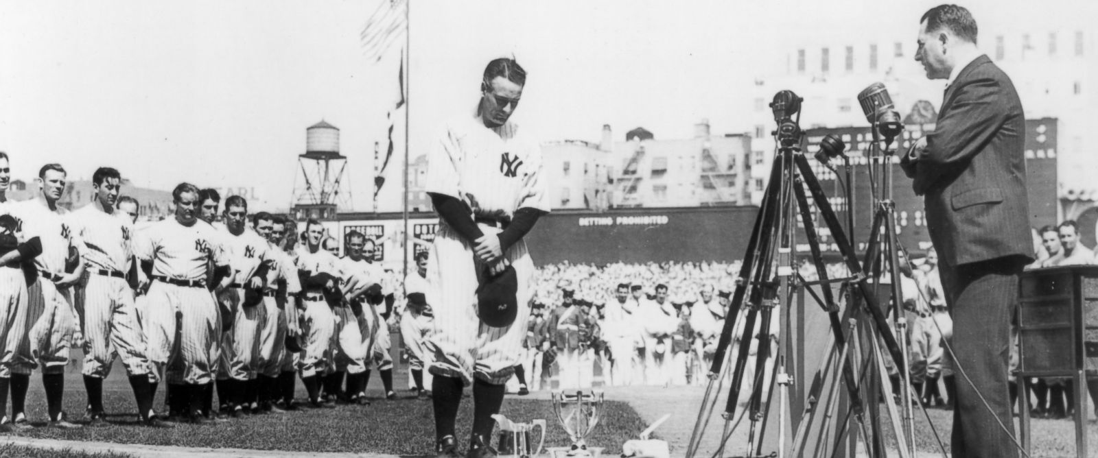 PHOTO: Lou Gehrig, first baseman for the New York Yankees, is shown at the microphone during Lou Gehrig Appreciation Day, a farewell to the slugger, at Yankee Stadium, July 4, 1939.