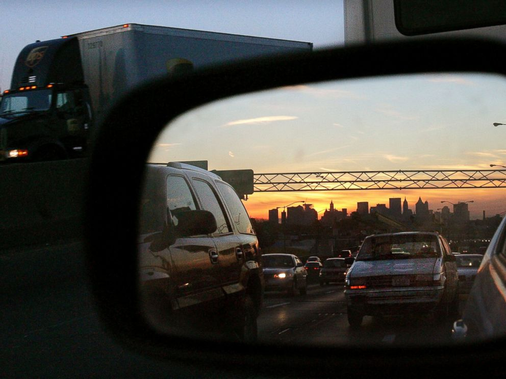 PHOTO: Trucks and cars drive on a Brooklyn highway at dusk February 23, 2005 in New York City in this file photo.