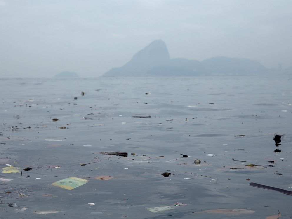 PHOTO: Pollution floats in Guanabara Bay, site of sailing events for the Rio 2016 Olympic Games, July 29, 2015 in Rio de Janeiro.