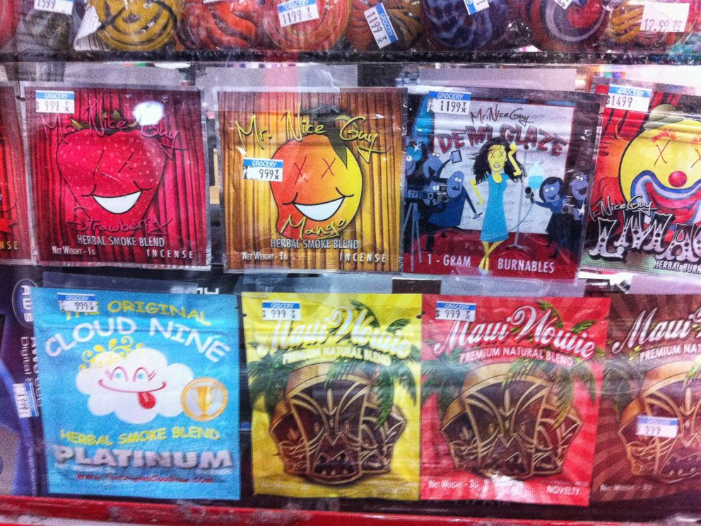 PHOTO: Synthetic marijuana, sold in colorful packages, sits behind a glass counter at a Kwik Stop in Hollywood, Fla. in this undated file photo.