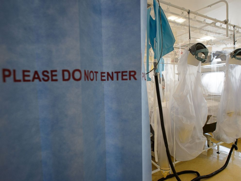 PHOTO: Protective clothing and facilities are in place at the Royal Free Hospital in north London, Aug. 6, 2014, in preparation for a patient testing positive for the Ebola virus.