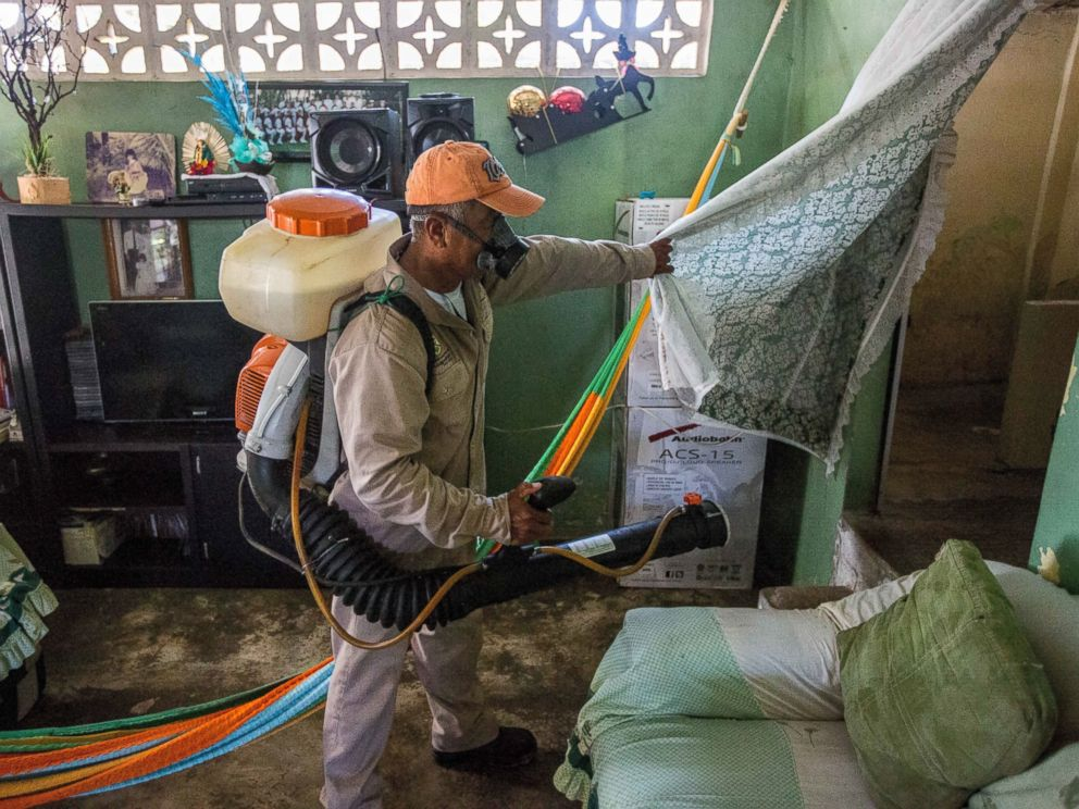 PHOTO:A municipality worker fumigates a home against the Aedes aegypti mosquito to prevent the spread of Zika, Chikungunya and Dengue in Acapulco, Mexico, Feb. 8, 2016.