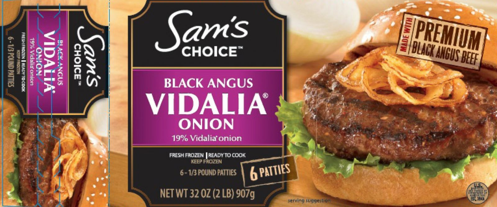 """PHOTO: The USDAs Food Safety and Inspection Service (FSIS) announced the recall of beef products from the Huisken Meat Company. The products have the name """"Sams Choice Black Angus Beef Patties with 19% Vidalia Onion,"""" pictured in the image above."""