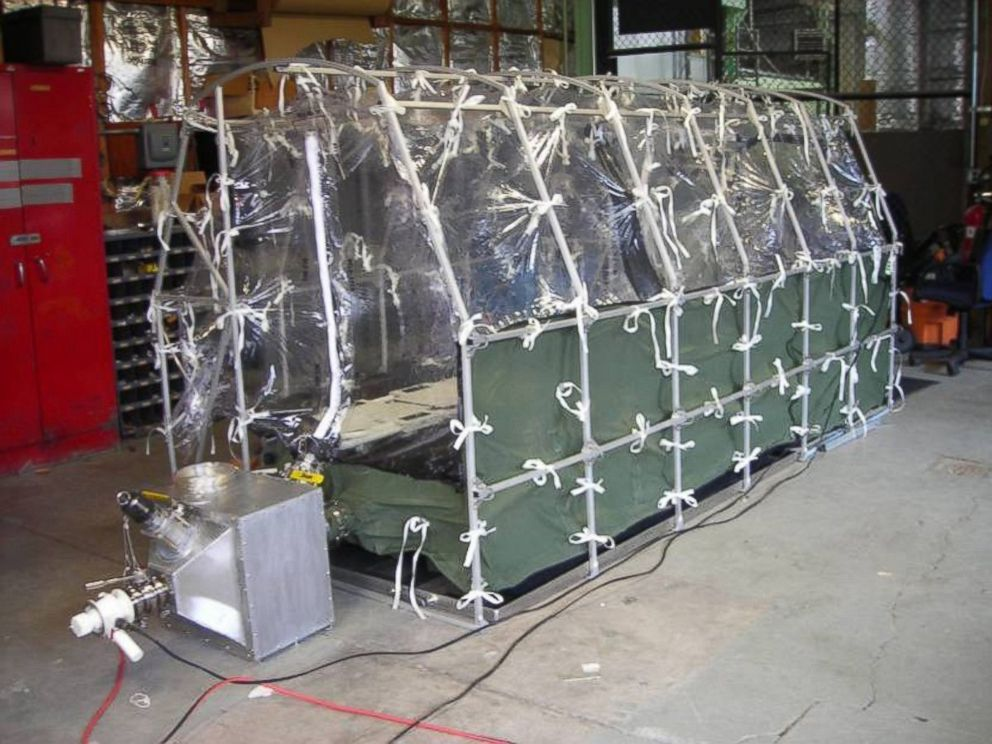 PHOTO: The Aeromedical Biological Containment System is a portable, tent-like device