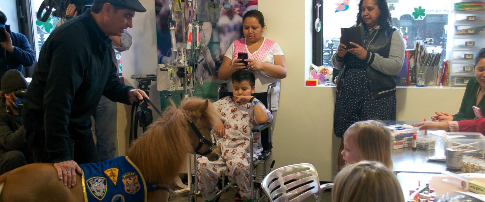 PHOTO: Honor, a therapy mini-pony, brought cheer to pediatric patients at Mt. Sinai yesterday.