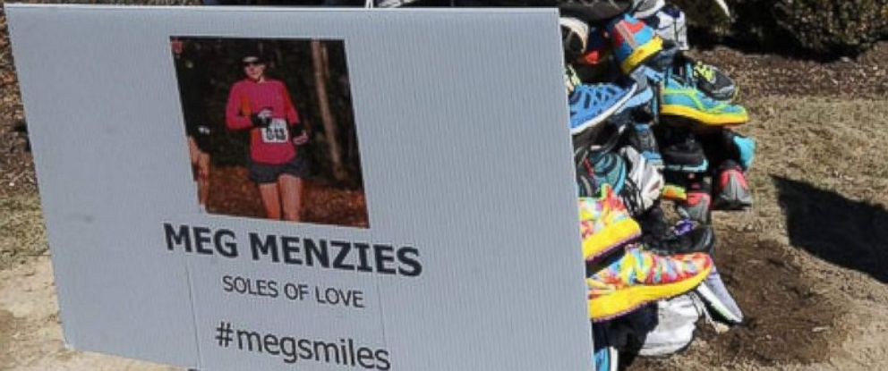 PHOTO: A sneaker tree in memory of Meg Menzies, in Hopkinton, Mass.