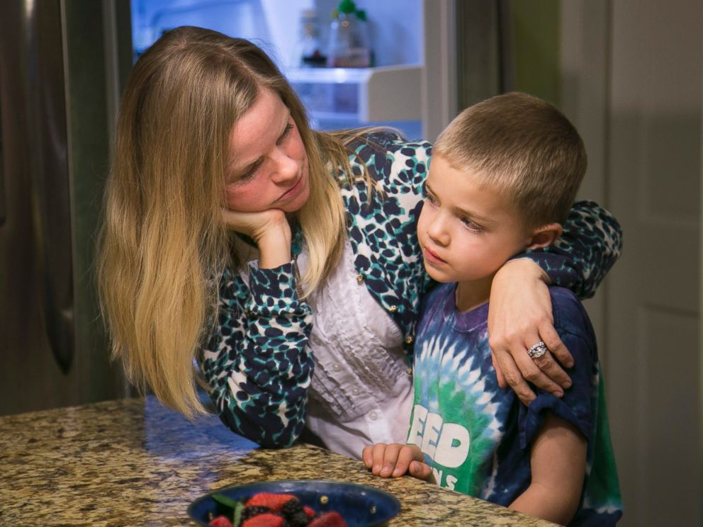 PHOTO: Jodi Krawitt holds her son Rhett in their home in Corte Madera, Calif. Jan. 28, 2015. Rhett is recovering from leukemia and his father is concerned his child could succumb to an outbreak of measles at his Northern California school.