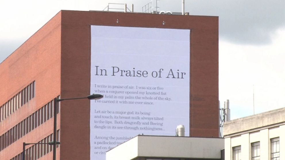 """Simon Armitages poem """"In Praise of Air"""" is printed on material that is coated with pollution-eating particles."""