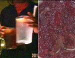 PHOTO: An ABC News hidden camera captures a waiter holding glasses near the rim, where a patron would put his/her mouth to drink. Inset: a Petri dish containing bacterial and fungal growth from microbes on hands that were not thoroughly washed.