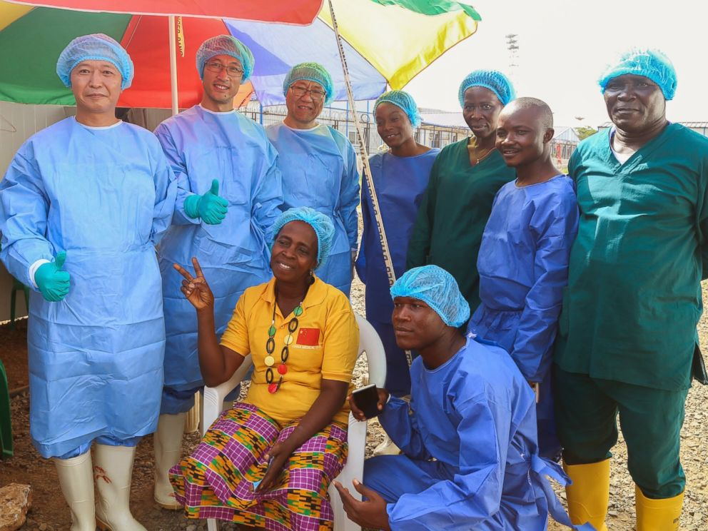 PHOTO: Beatrice Yardolo poses for a photo with members of the Ebola treatment unit on the day of her release in Monrovia, Liberia on March 5, 2015.