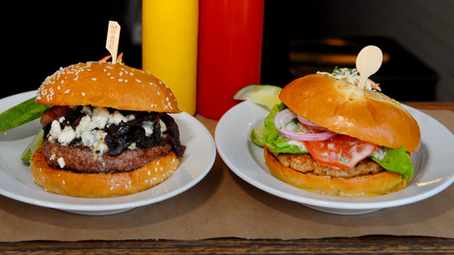 PHOTO: The Maytag Blue, and Herbed Turkey Burger are served at BLT Burger in Chelsea section of New York, seen here June 27, 2012.