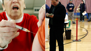 PHOTO A person is vacccinated for H1N1 in this file photo, left./Voters stand in line at the polls on election day in Portland, Maine, Nov. 3, 2009.
