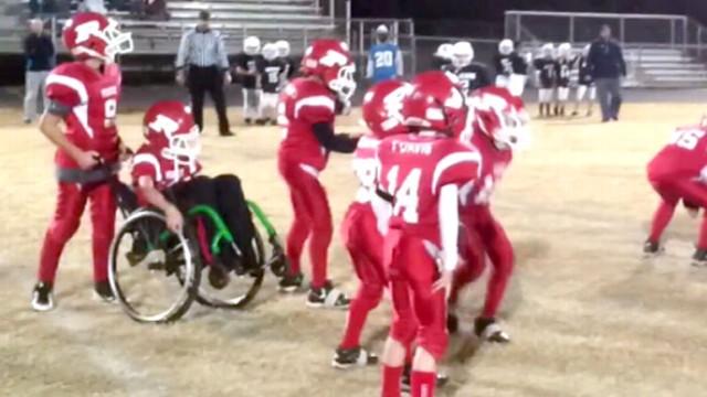 VIDEO: Wheelchair-Bound Boy Fulfills Football Dream