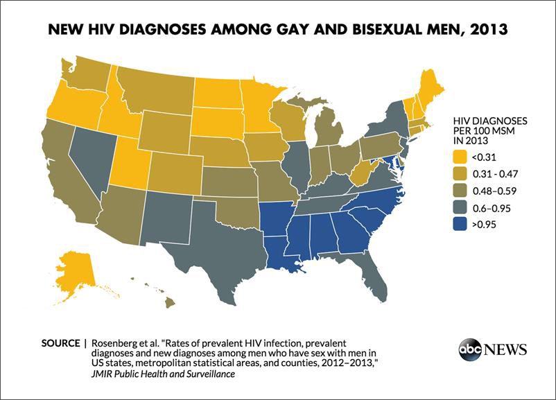 New Map Reveals Hiv Risk Greatest In Southern Cities For Gay - Southern-us-map-with-cities