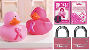 PHOTO Pink ribbon rubber ducks, Bicycle pink ribbon playing cards, Master Lock breast cancer padlocks, are shown in these photos.
