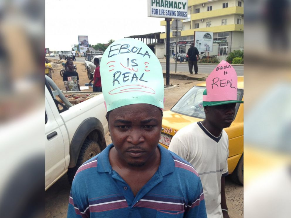 PHOTO: On August 27, 2014, community educators in Liberia remind people of the dangers of Ebola, which has killed more than 1,400 people in West Africa.