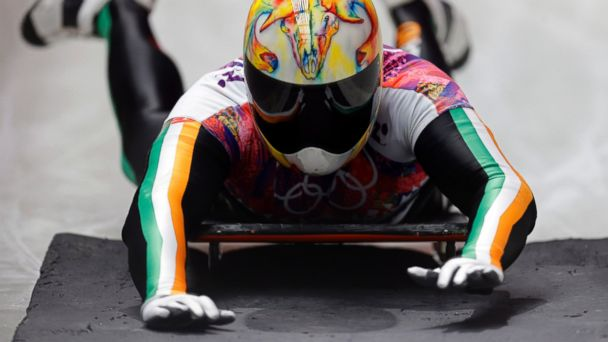PHOTO: Sean Greenwood of Ireland brakes after his third run during the mens skeleton competition at the 2014 Winter Olympics on Feb. 15, 2014, in Krasnaya Polyana, Russia.