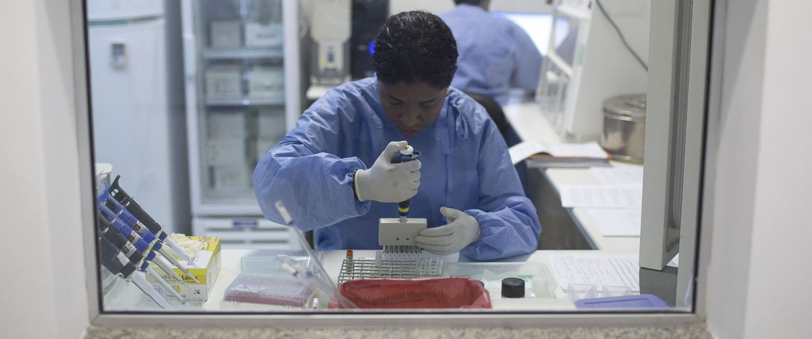 PHOTO: A graduate student works on analyzing samples to identify the Zika virus in a laboratory at the Fiocruz institute in Rio de Janeiro, Brazil, Jan. 22, 2016.