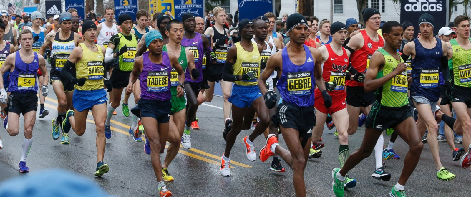 PHOTO: Elite men leave the starting line of the the 119th Boston Marathon in Hopkinton, Mass. on April 20, 2015.