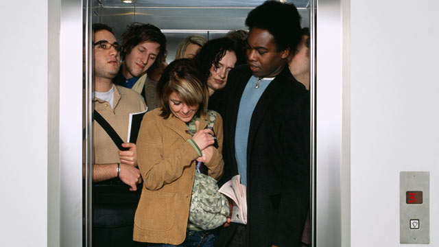 PHOTO: Some people have a fear of crowded elevators.