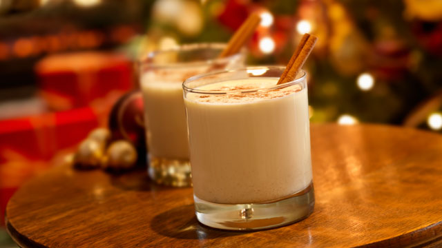 PHOTO: Egg Nog, seen here with ground nutmeg and cinnamon stick, is a classic holiday drink.