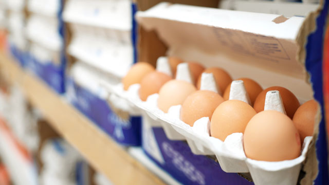 PHOTO: Eggs in a supermarket.