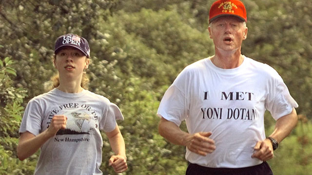 PHOTO: US President Bill Clinton along with daughter Chelsea Clinton jog along West Tisbury Road in Edgartown on Martha's Vineyard in this August 19, 1997 file photo.