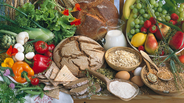 PHOTO: Assorted healthy foods including fruits, vegetables and grains.