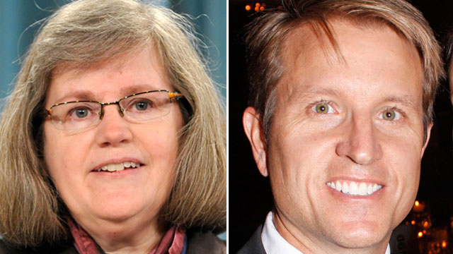 PHOTO: Holly Petraeus, speaks during a press conference in Washington, Jan. 6, 2011. Right, Scott Broadwell at the Patriot Gala in Charlotte, N.C., Nov. 4, 2012.