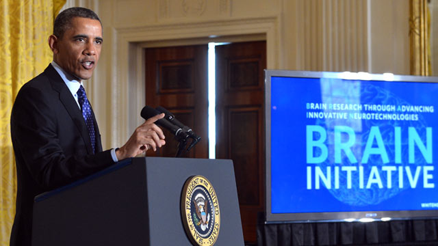 PHOTO: President Barack Obama speaks in the East Room at the White House in Washington, DC, April 2, 2013, to announce his Administrations Brain Research through Advancing Innovative Neurotechnologies (BRAIN) Initiative.