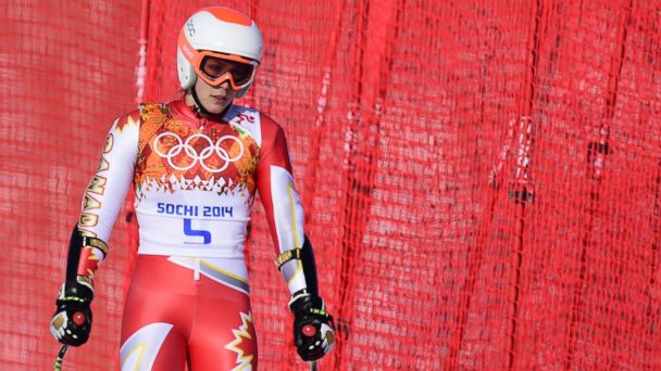 PHOTO: Canadas Marie-Michele Gagnon reacts after the Womens Alpine Skiing Super-G at the Rosa Khutor Alpine Center during the Sochi Winter Olympics on Feb. 15, 2014.
