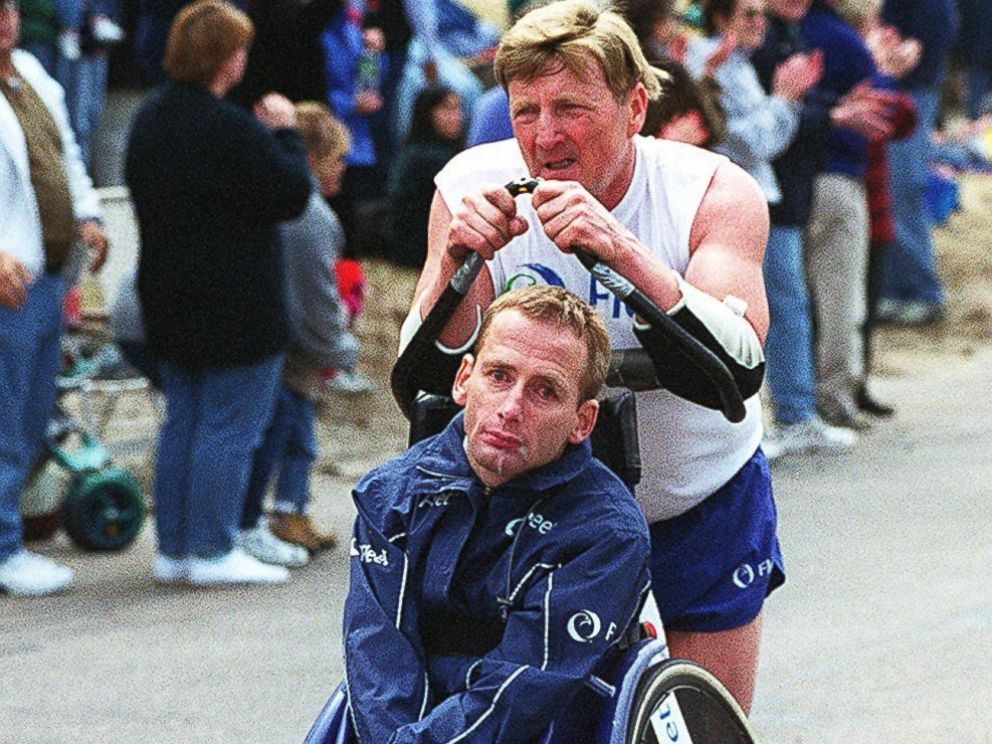 PHOTO: Dick Hoyt and his son, Rick, on their way up Heartbreak Hill during the Boston Marathon on April 16, 2001.