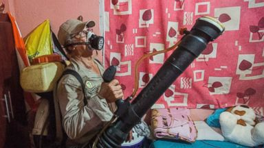 PHOTO: A worker fumigates a home against the Aedes aegypti mosquito to prevent the spread of Zika, Chikungunya and Dengue in Acapulco, Mexico on Feb. 8, 2016.