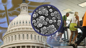A House staffer reportedly has been infected with a drug-resistant superbug, possibly from a gym used by some members of Congress.