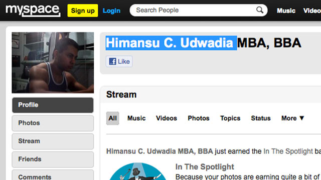 PHOTO: The Myspace profile picture of Humansu Udwadia, seen here in this screen grab.