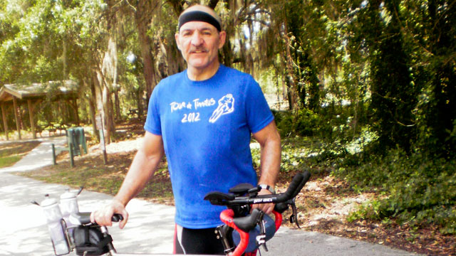 PHOTO: Sal Gentile, 62, rides his bike to raise awareness on behalf of tinnitus sufferers.