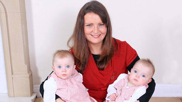 PHOTO: Angela Cottam almost died after a fingernail or hair from one of her new born twins passed into her bloodstream during their birth.