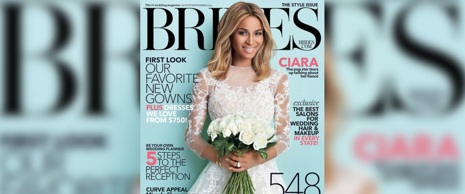 PHOTO: Singer Ciara appears on the cover of the August/September 2014 issue of Brides Magazine.