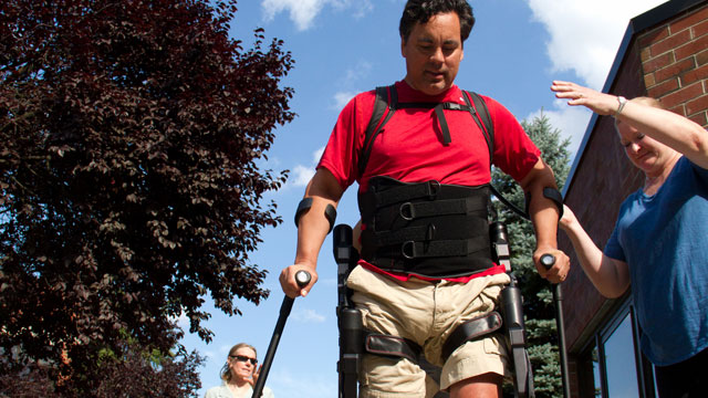 PHOTO: Chris Tagatac using Ekso, a robot that walks for him despite the spinal cord injury that paralyzed him last summer.