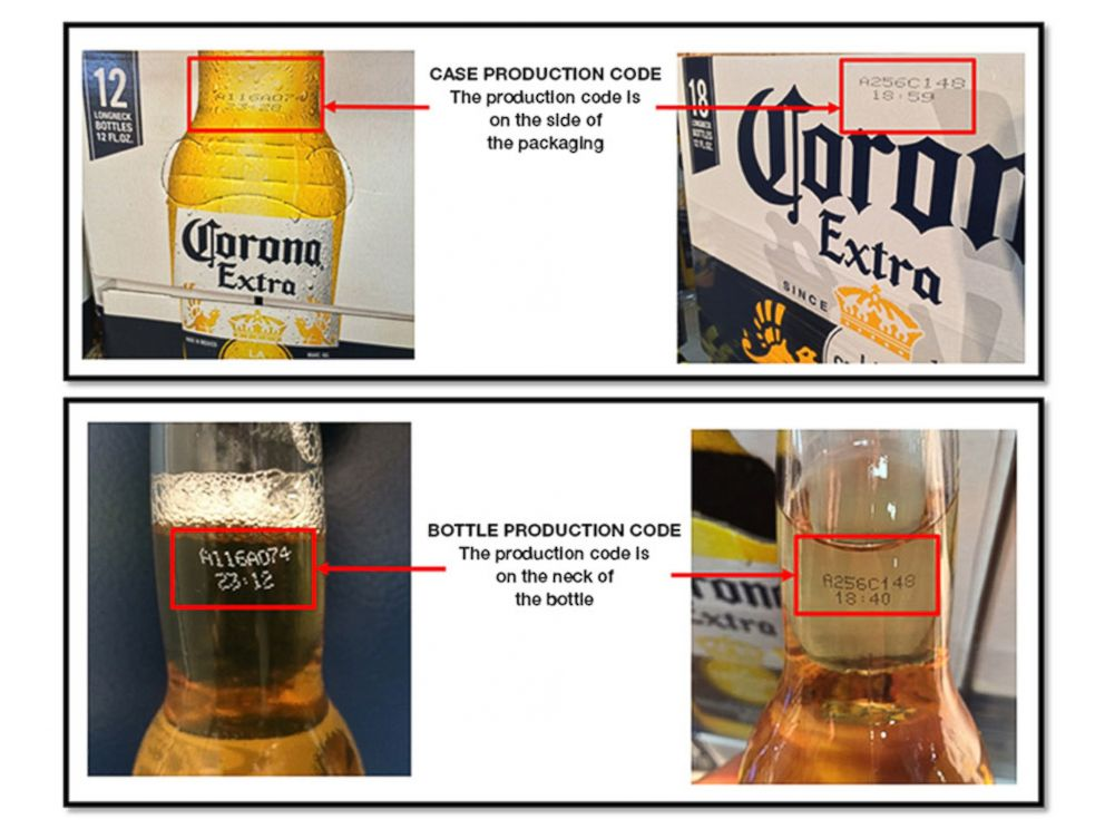 PHOTO: An image released by Corona shows consumers where to find the 8-digit production codes that will help determine whether or not a bottle is part of the recall.