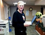 PHOTO: Ethel Hoover, 61, wore all black on her last day as a nurse at IU Health Goshen Hospital in Indiana.