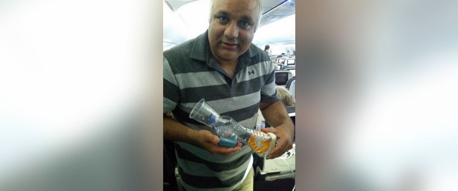 """PHOTO: This photo was uploaded to Twitter on Sept. 18, 2015 with the caption, """"Flying back from ERUS15 had to design a nebuliser for a 2 yr old asthmatic over the atlantic. Thank God kid did well!"""""""