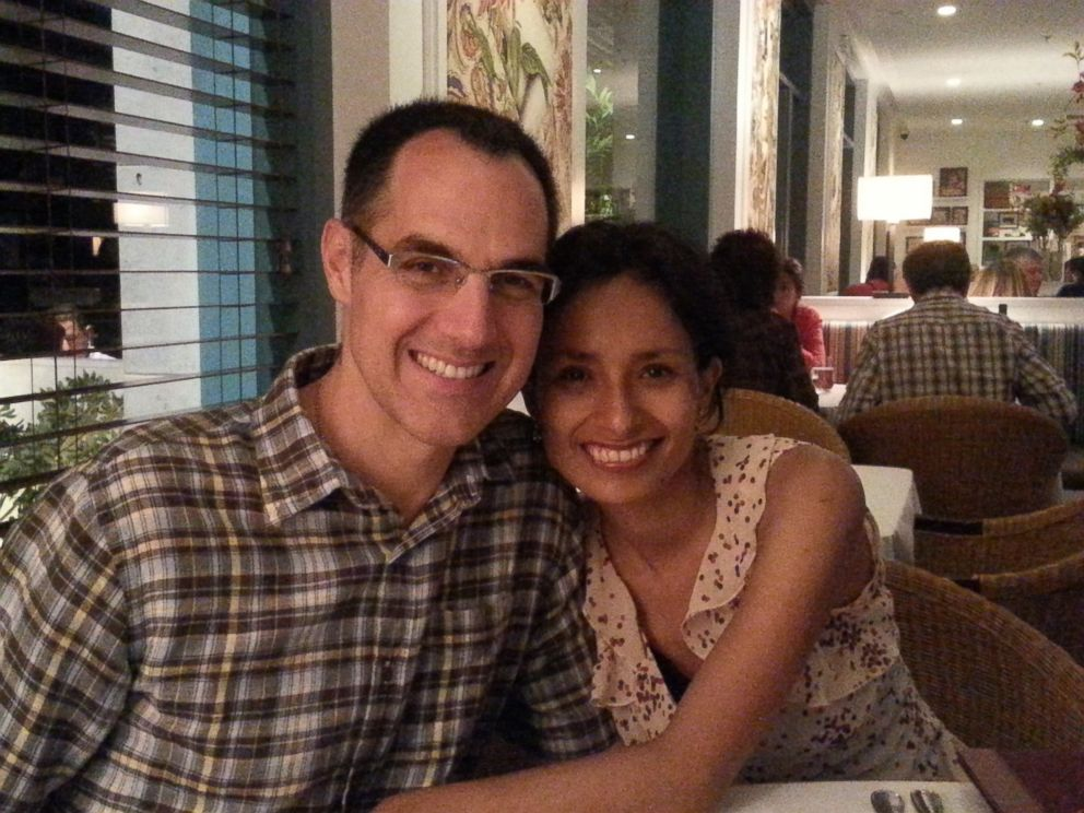 PHOTO: My husband Christopher and me in a dinner during our trip to my home country, Peru, on Feb. 6, 2015.
