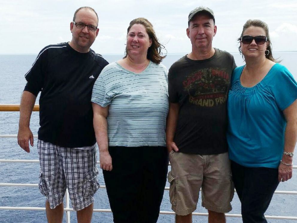 PHOTO: Jon Malone (left) and his wife Angela (center left) were on the cruise with his brother Jeremy Malone (center right) and his wife Kristine (right) that left Texas on Oct. 12 and was scheduled to return on the 19.
