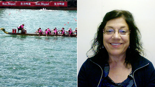 PHOTO: Kathy Christiansen took up dragon boat racing after undergoing a partial mastectomy.