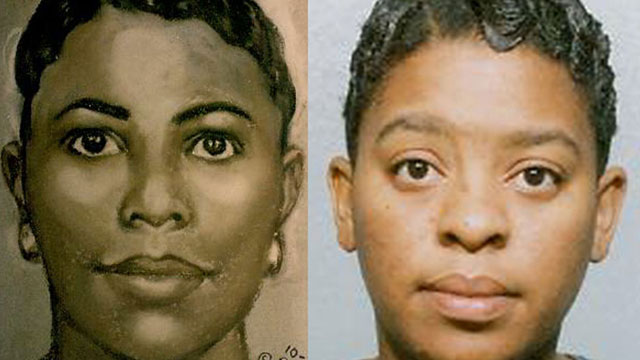 PHOTO: Left, a sketch by Lois Gibson done from a mother whose hours-old baby had been kidnapped. Right, the kidnappers identity.
