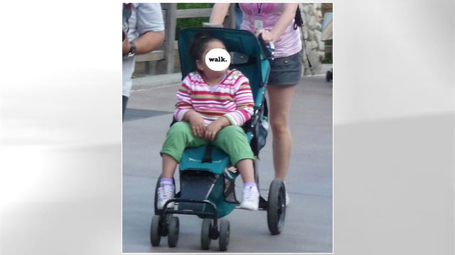 PHOTO: In her blog Toobigforstroller.com, Miller pokes fun at parents who continue to push their older children around well beyond the age (and size) intended for the stroller.