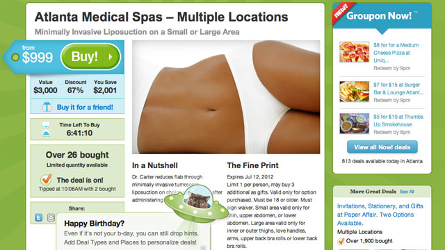 PHOTO: Liposuction is now available via Groupon.